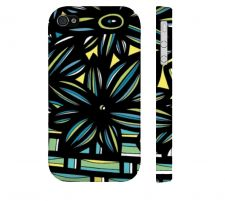 Buy Pain Yellow Blue Black Iphone 4/4S Apple Phone Case Flowers Botanical