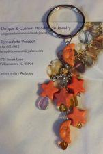 Buy star and moon peach/orange handmade keyring