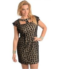 Buy SEXY PLUS SIZE COCKTAIL BLACK AND BEIGE LACE DRESS DRESS 1x, 2x