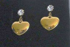 Buy NIB - April - Avon Birthstone Heart Drop Earrings w/Surgical Steel Posts - 1990s