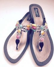 Buy Grandco Aruba Jeweled Sandals Flip Flop Slide Women Footwear Pools Beach BLK 10