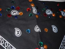 Buy Womans Bandanna Black Paisley With Colored Bling 22 x 22