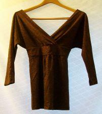 Buy EUC women's, Sz. S, Express, brown w/gold metallic thread, faux wrap, top
