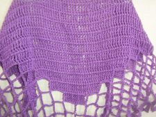 Buy Hand Crocheted Tunisian Lacy Stitch Purple Woman's Shawl Wrap