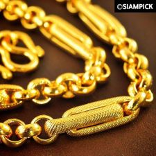 "Buy 24"" Thai 22k 24k Baht Yellow Gold GP Barrel Chain Mens Necklace Long Jewelry 15"