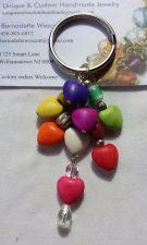 Buy heart, multi colored glass and ceramic handmade keyring