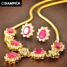 Buy CZ RUBY Thai 22k 24k Yellow Gold Baht GP Real Necklace Earrings Jewelry Set S001