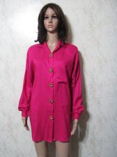 Buy (164) Joanna Any Ladies Size Medium Pink Blouse 100% Rayon Botton Down Shirt