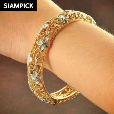 Buy Thai Bangle Bracelet 22k 24k Baht Yellow Gold Plated GP Hinge Charm Jewelry B111