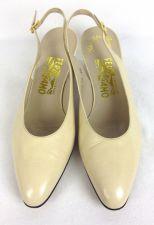 Buy Salvatore Ferragamo Shoes 10 AA Womens Beige Leather Heels