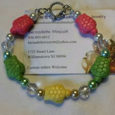 Buy turtle pink green and yellow glass and ceramic handmade bracelet sizing avail