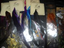 Buy Hair Feather lot 16 hair extensions clip in & sew in beads new mix colors