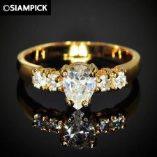 Buy 24k CZ Drop Wedding Engagement Ring Thai Baht Yellow Gold GP Size 7 Jewelry 13