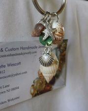 Buy shells and starfish brown and white handmade keyring