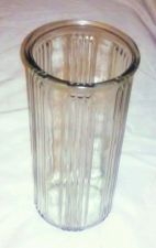 Buy EUC, HOOSIER vertically lined clear glass vase