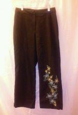 Buy EUC women's sz. 4 WORTHINGTON Stretch black embroidery enhanced pants