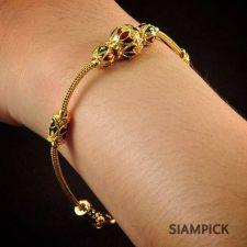 Buy 22k 24k Enamel Thai Baht Yellow Gold Plated Bracelet Chain Bangle Jewelry B034
