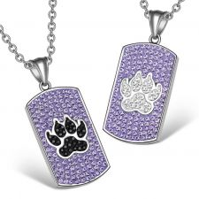Buy Wolf Paw Austrian Crystal Love Couples or Best Friends Dog Tag Purple Black White Cha