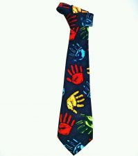 Buy FRATELLO Mens Neck Tie Novelty Handmade Hand Prints Divesity Multi-colored EUC