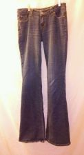 Buy EUC women's sz. 9L Wet seal jeans blue flared distressed/destroyed denim jeans