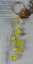 Buy star and moon yellow quartz, glass and acrylic handmade keyring