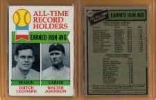 Buy VINTAGE WALTER JOHNSON & DUTCH LEONARD 1973 TOPPS ALL-TIME RECORD HOLDERS #418