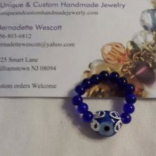 Buy evil eye blue glass handmade ring can be made in any size