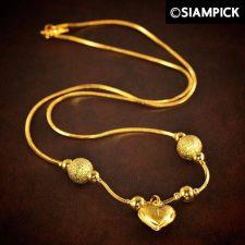 "Buy 18"" Dubai Beads Chain Thai Baht Yellow Gold GP 22k 24k Necklace Heart Jewelry 72"