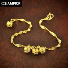 Buy 24k Beads Bangle Rope Chain Bracelet Thai Bath Yellow Gold GP Vintage Jewelry 62