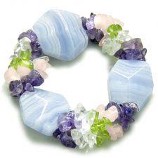 Buy Amulet Donut Flower Black Agate Tiger Eye Gemstones Spiritual Powers Pendant Necklace