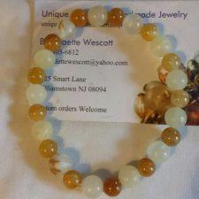 "Buy gemstone italian ""onyx brown and white handmade bracelet sizing available"