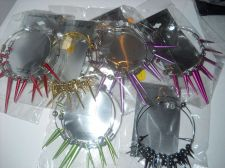 Buy Spike Hoop earring Lot 6 pairs colors large dangle party favors basketball
