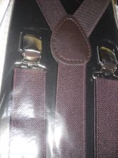 Buy New Suspenders Brown retail package adult elastic leather Y back metal clip