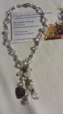 Buy heart crystal glass pewter heart silver plated handmade anklet sizing available