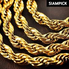 "Buy 24"" Thai Baht 22k 24k Yellow Gold Plated GP Rope Chain Necklace Jewelry Men N030"