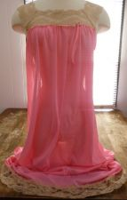 Buy Vintage 60s Nightgown Sz S Sleeveless Chiffon Lace Trim Pastel Pink Berkliff EUC