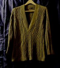 Buy EUC Women's Jeanne Pierre Olive Drab Green, Lng Sleeve V-neck Cable Knit Sweater