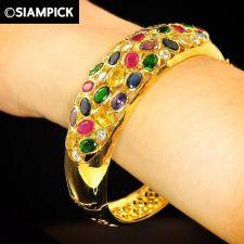 Buy CZ Mixed Gems 22k 24k Thai Baht Yellow Gold Plated Bangle Bracelet Jewelry B065