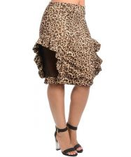 Buy Sexy Trendy Plus Size Leopard Animal Print Skirt with sheer mesh