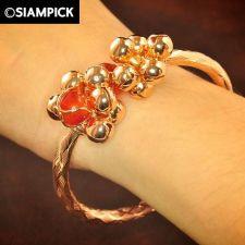 Buy 22k Thai Baht Pink Gold Plated Bead Bangle Bracelet Vintage Charm Jewelry B068