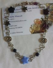 Buy star blue black and purple handmade anklet, custom sizing available