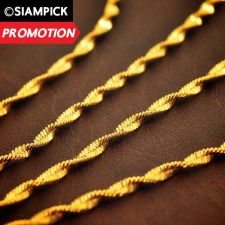 "Buy 18"" Thai Baht 22k 23k 24k Yellow Gold Plated GP Rope Chain Necklace Jewelry N002"