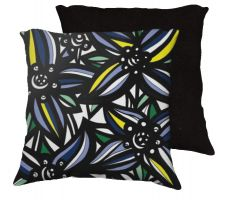 Buy Theberge 18x18 Yellow Blue Black White Pillow Flowers Floral Botanical Cover Cushion