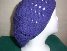 Buy Hand Crocheted Lacy Woman's Purple Slouch Hat