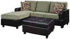 Buy Bobkona Manhanttan Reversible Microfiber 3-Piece Sectional Sofa with Faux Lea...