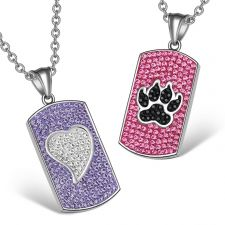 Buy Heart and Wolf Paw Austrian Crystal Love Couples Best Friends Dog Tag White Black Pin