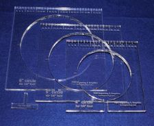 """Buy 3 Piece Inside Circle Set w/Rulers ~3/8"""" Thick - Long Arm- For 1/4"""" Foot"""