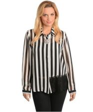 Buy PLUS SIZE SHEER VERTICAL STRIPED DESIGN LONG SLEEVE, CASUAL ,BLACK & WHITE 1X
