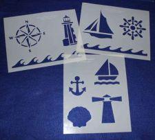 Buy 3 Piece Set -Mylar 14 Mil Nautical Stencils Painting/Crafts/Stencil/Template