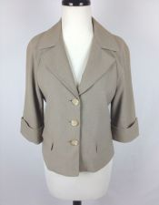 Buy Tahari Jacket M Womens Beige Cotton Shrug